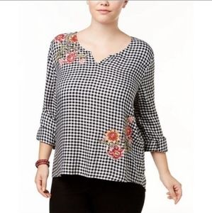 STYLE & CO Checkered Floral Blouse Size Large